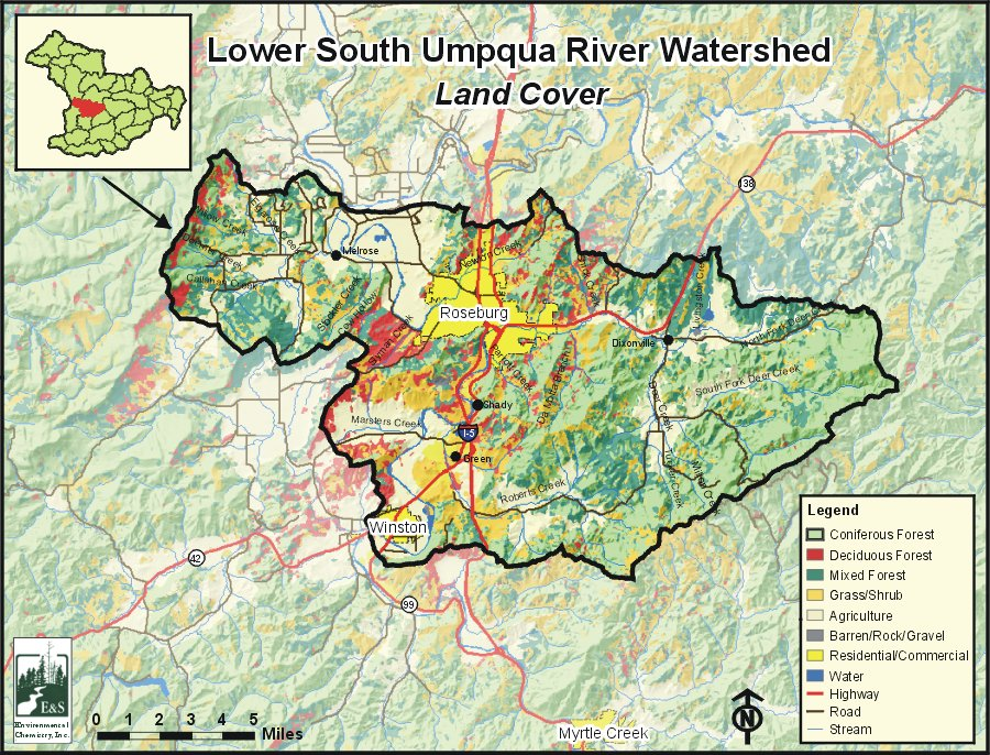 Umpqua Oregon Map.Lower South Umpqua River Watershed Oregonexplorer Oregon State