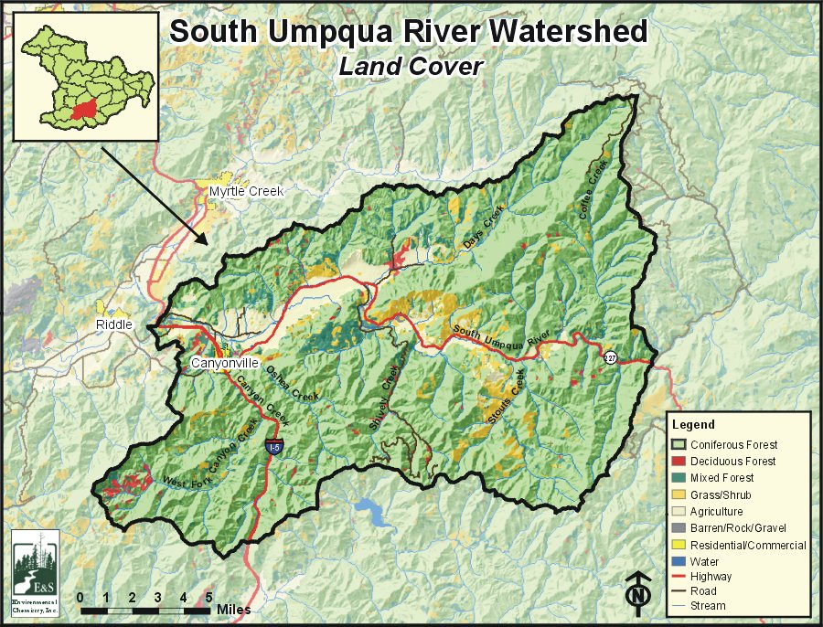 Umpqua Oregon Map.South Umpqua River Watershed Oregonexplorer Oregon State University