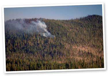 Lightning-caused Cache Mtn. Fire, Deschutes NF.