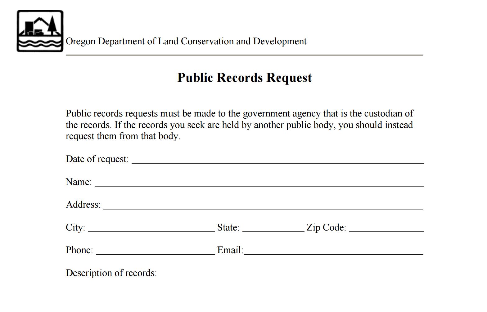 Public Records Request Form | oregonexplorer | Oregon State University