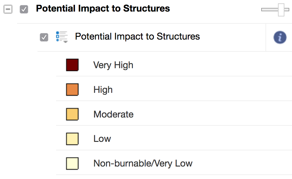 Screenshot of legend for potential impact for structures layer