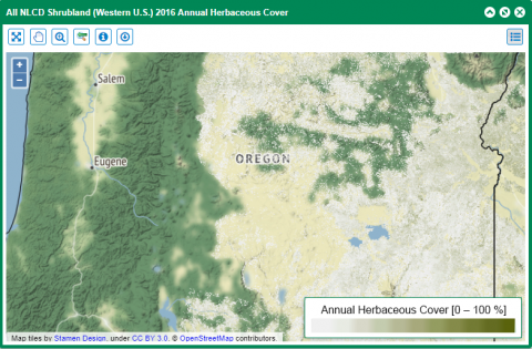 Screenshot of MLRC shrubland vegetation map