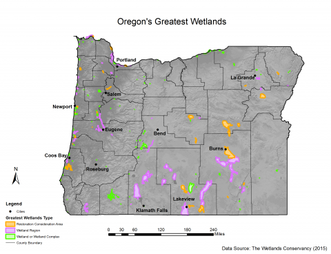 Map of Oregons Greatest Wetlands